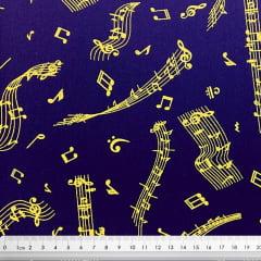 Tecido Tricoline Sifras e Notas Musicais Douradas Brilhantes - Fundo Azul Marinho - Preço de 50 cm x 150 cm