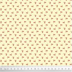 Tecido Tricoline Tiny Cherry Cerejas - Fundo Creme