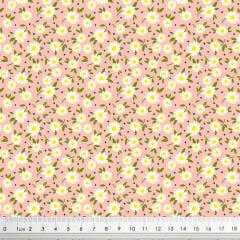 Tecido Tricoline Tiny Daisy Rosa - Coleção Miss Daisy
