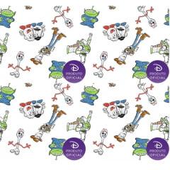 Tecido Tricoline Toy Story 4 - Fundo Branco - Coleção Disney - Preço de 50 cm X 150 cm