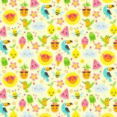 Tecido Tricoline Tropical - Fundo Creme - Coleção Colors - Preço de 50 cm x 150 cm