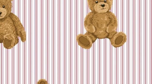 Tecido Tricoline Urso com Listras Rosê - Fundo Branco - Coleção Teddy Bear - Preço de 50 cm x 150 cm