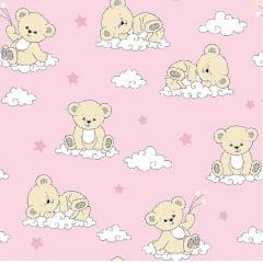 Tecido Tricoline Ursa na Nuvem - Fundo Rosa  - Preço de 50 cm x 150 cm