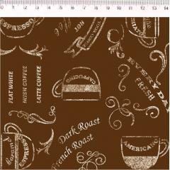 Tecido Tricoline Coffe - Fundo Marrom - Coleção Cafeteria