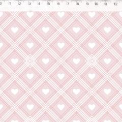 Tecido Tricoline Xadrez com Coração Branco  - Fundo Rosa Bebê - Coleção Coração de Pano