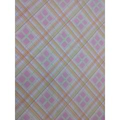 Tecido Tricoline Xadrez Rosa, Verde, Branco e Laranja - Preço de 50 cm X 150 cm