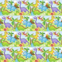 Tecido Tricoline Digital - Dinossauros Faixas - Fundo Azul Marinho