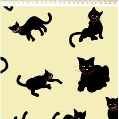 Tecido Sarja Estampada de Gatos Pretos - Fundo Creme - Coleção Cat- Preço de 50cm x 160cm