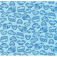 Tecido Flanela Estampado Carros Azul - Largura de 80cm