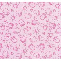 Tecido Flanela Estampado Meninas Rosa  - Largura de 80cm