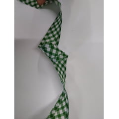 Viés Largo Xadrez Verde Bandeira Grande com Fundo Branco - Cor 222 - Pacote com 5 metros