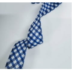 Viés Largo Xadrez Azul Royal Grande com Fundo Branco - Cor 215 - Pacote com 5 metros