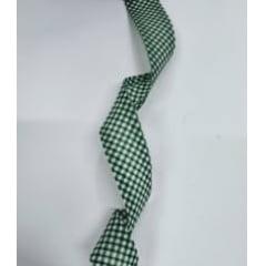 Viés Largo Xadrez Verde Bandeira com Fundo Branco - Cor 213 - Pacote com 5 metros
