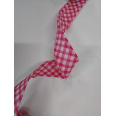 Viés Largo Xadrez Pink Grande com Fundo Branco - Cor 220 - Pacote com 5 metros