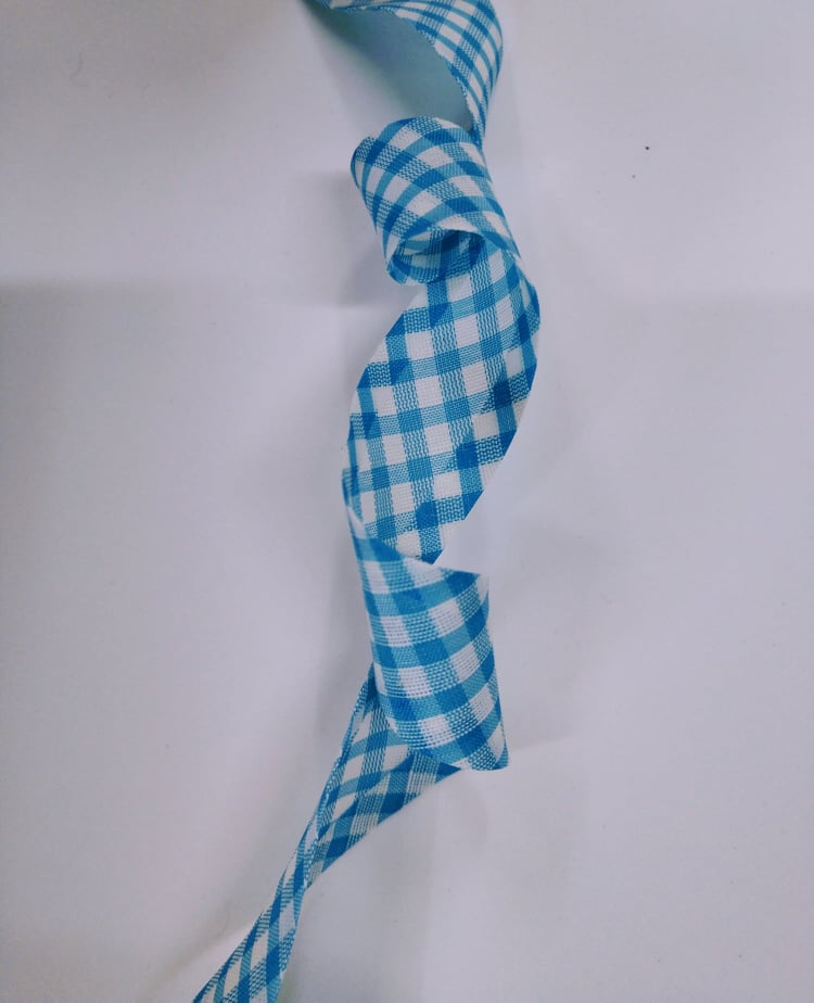 Viés Largo Xadrez Azul Claro Grande com Fundo Branco - Cor 221- Pacote com 5 metros