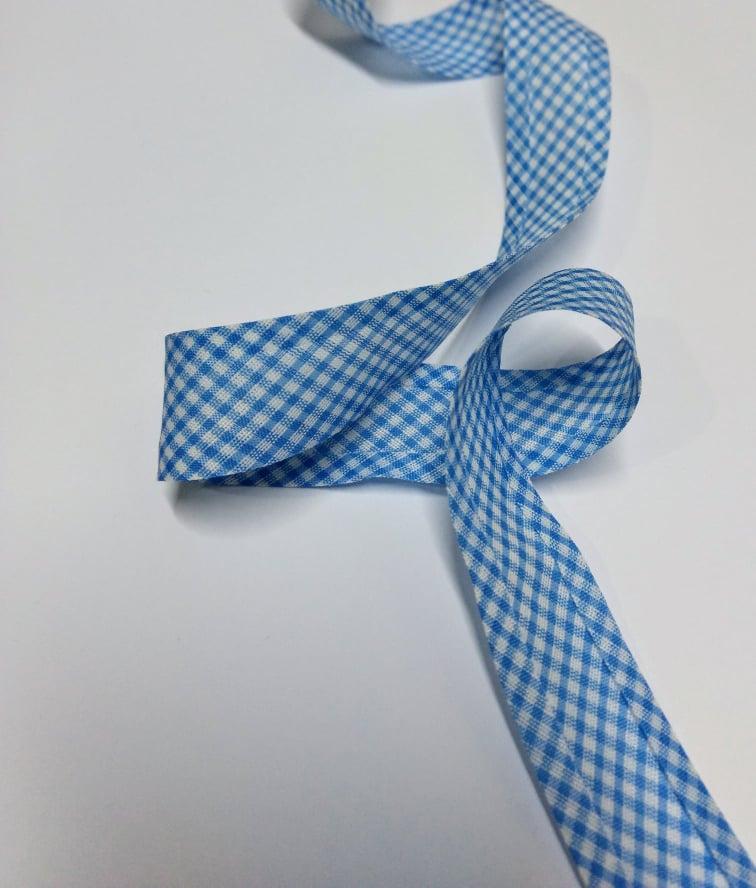 Viés Largo Xadrez Azul Claro com Fundo Branco - Cor 214 - Pacote com 5 metros