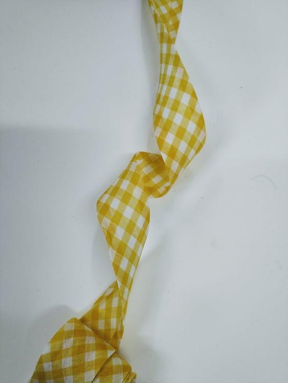 Viés Largo Xadrez  Amarelo Grande com Fundo Branco - Cor 218 - Pacote com 5 metros